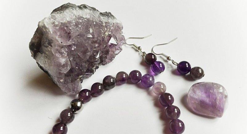 amethyste en quartz pierre roulee bracelet et boucles d oreille